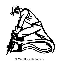 minatore, isolato, illustrazione, vettore, fondo, bianco