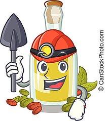 minatore, olio, carattere, bottiglia, pistacchio