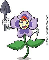 minatore, viola del pensiero, fiore, mascotte, cartone animato