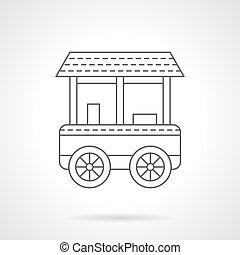 mince, charrette, bagel, icône, vecteur, ligne, roue, plat