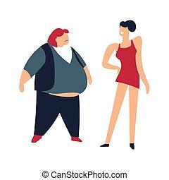 mince, humilier, graisse, personne, mince, dame, femmes