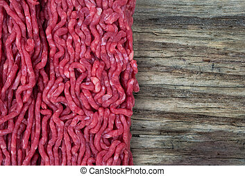 Mince meat and wood background texture
