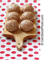 Mince meat balls - Six pork balls from minced meat laid on ...