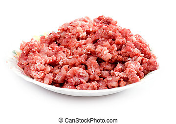 mince meat on plate - object on white - food mince meat
