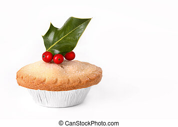 Mince Pie and Holly - Christmas mince pie topped with holly ...