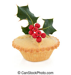 Mince Pie - Christmas mince pie with holly and red berry ...