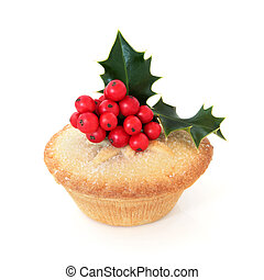 Mince Pie - Mince pie with holy berry leaf sprig over white ...