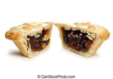 Mince pie sliced into two pieces