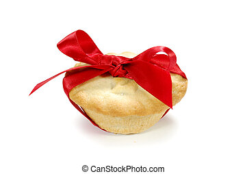 Mince pie wrapped with a red ribbon bow