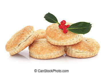 Mince Pies and Holly - Mince pie stack with holly leaf, ...