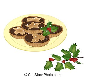 mince pies on a plate vector