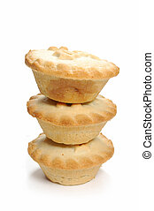 Mince pies - Stack of mince pies on a white background