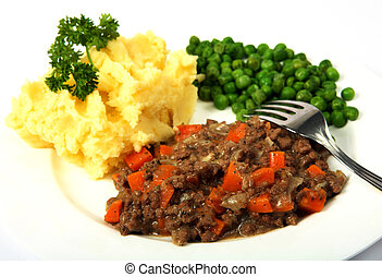 Mince potatoes and peas - A meal of minced beef (ground beef...