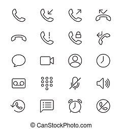 mince, téléphone, icônes