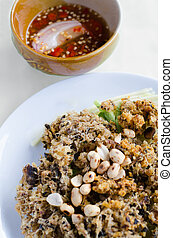 minced catfish salad with spicy sauce