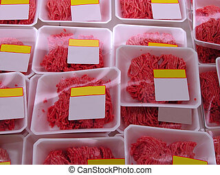 Minced meat - Detail of a supermarket shelf with minced meat...