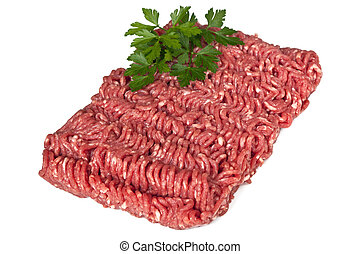 Minced Meat - Lean raw minced meat, isolated on white...