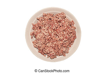 Minced meat on a plate isolated on a white background.