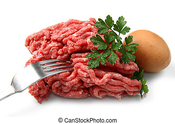 minced meat with egg and parsley