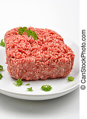 minced meat with parsley on a plate