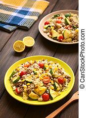 mincemeat, plat, légumes, riz