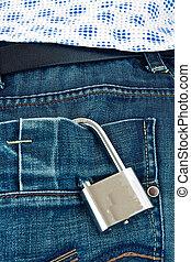 Mind and frivolity - Steel locked padlock pocket mens jeans...
