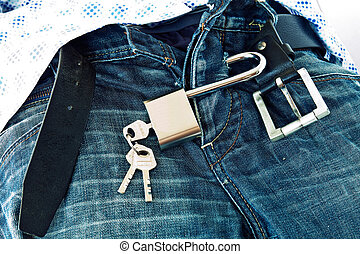 Mind and frivolity - Steel Padlock locked submitting jeans...