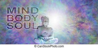 Mind Body Soul Buddha Banner - Buddha in meditative lotus ...