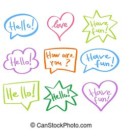 Mind cloud quote set. Different shapes. Hello, have fun, love, how are you