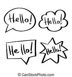 Mind cloud quote set. Different shapes. Hello, hi