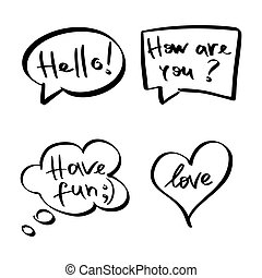Mind cloud quote set. Different shapes. Hello, how are you, have fun, love
