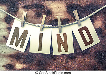 Mind Concept Pinned Stamped Cards on Twine Theme - The word...