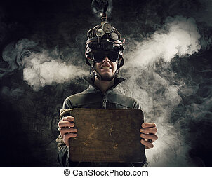 mind control - Man wearing a brain-control helmet, human...