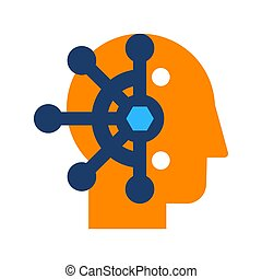 Mind control, thought manipulation flat vector icon