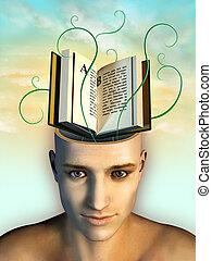 Mind food - Open book as mind food. Digital illustration.