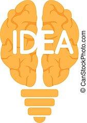 Mind idea logo, flat style