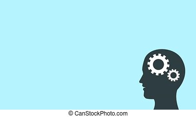 Mind making ideas HD animation - Man head with gears...