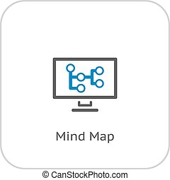 Mind Map Icon. Business Concept. Flat Design.