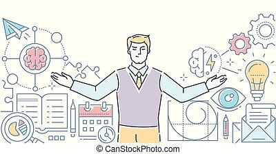 Mind map - modern line design style vector illustration