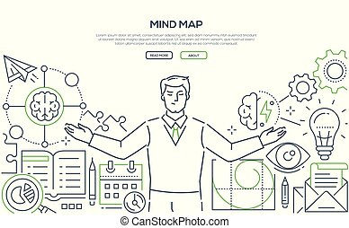 Mind map - modern line design style web banner