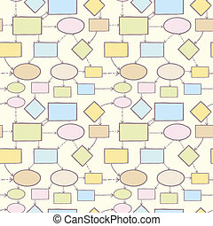 Mind map vector seamless pattern background template