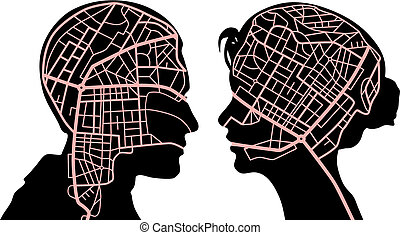 Editable vector illustration of roadmaps in the minds of a man and woman