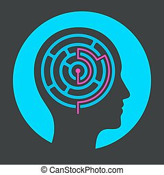 Human head silhouette with maze and solution. Solving problems of mind with psychology. Vector illustration, icon or logo.
