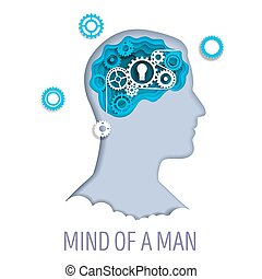 Mind of a man, vector illustration in paper art style