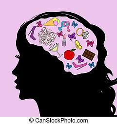 Mind of girl, vector illustration