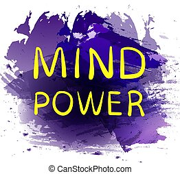 'MIND POWER' text on purple paint splash backdrop. VECTOR hand drawn letters. Yellow words.