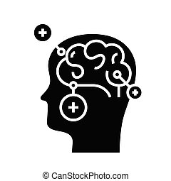 Mind puzzles black icon, concept illustration, vector flat symbol, glyph sign.