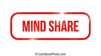 Mind share - red grunge rubber, stamp