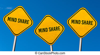 Mind share - yellow signs with blue sky