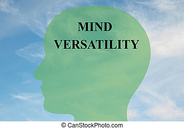 Render illustration of Mind Versatility title on head silhouette, with cloudy sky as a background